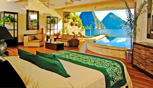 Three-walls bedroom = no inhibitions!   Jade Mountain, St Lucia