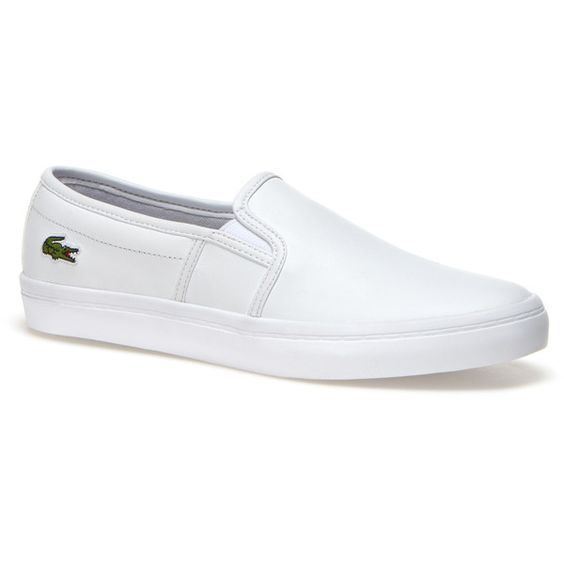 Lacoste Women`s Gazon BL Monochrome Leather Slip-ons ($84) ❤ liked on Polyvore featuring shoes, genuine leather shoes, monochrome shoes, slip-on shoes, lacoste and lacoste shoes