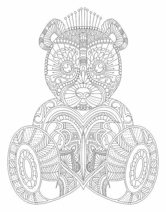 Ours en peluche coloriage pour adultes and coloration on pinterest - Idee voor volwassenen ...