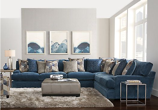Picture Of Cindy Crawford Home Beverlywood Navy 5 Pc Sectional Living Room From Living Room Sets Sectional Living Room Sets Navy Living Rooms Blue Living Room