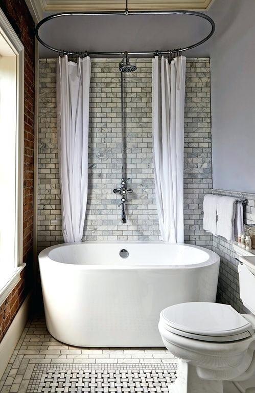 Transitional 3 4 Bathroom With Side Mount Shower Curtain Rod Complex Marble Tiledeep Bath Bathroom Tub Shower Combo Bathroom Tub Shower Small Bathroom With Tub