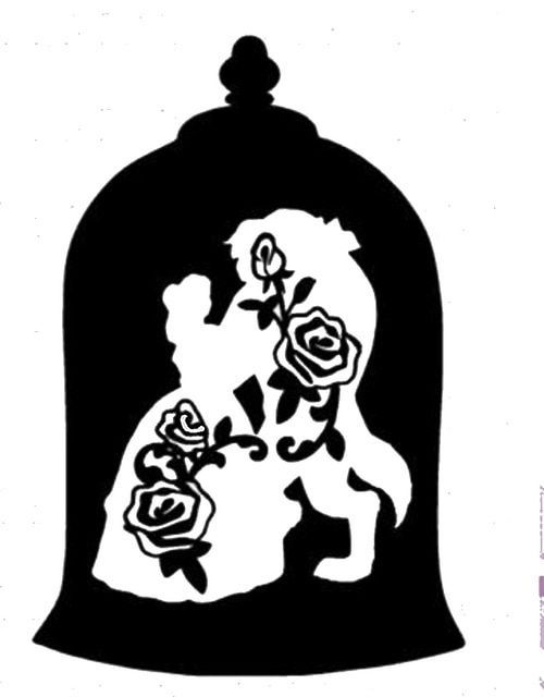 Vinyl Decals Beauty And The Beast Black Silhouette Clipart Email Beauty And The Beast Silhouette Disney Beauty And The Beast Beauty And The Beast