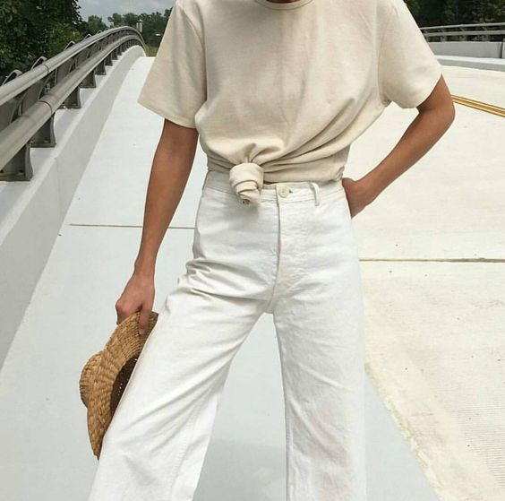 White in white outfit! Perfect for this coming Spring season.