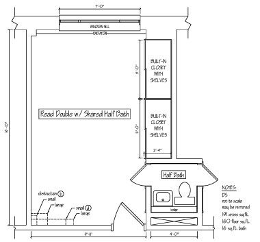 Read double with shared half bath floor plan at read for Half bath floor plans