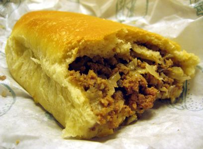 Runza! You have to come from Nebraska, and have visited Nebraska to really understand the wonderfullness that is a Runza. The filling consists of beef, sauerkraut, onions, and special seasonings. It's similar to a Polish bierock.