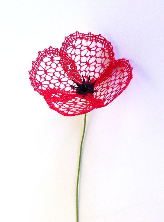Little Poppy - a bobbin lace PDF pattern. Instant download. 3D lace flower