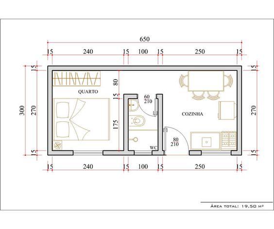 Casas pequenas com 1 quarto plantas de casas pinterest for Dormitorio 3x5