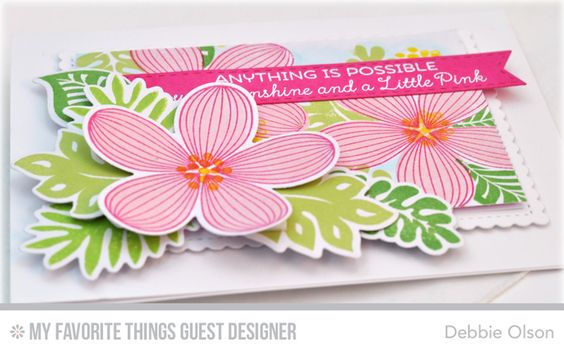 Handmade card from Debbie Olson featuring Tropical Flowers
