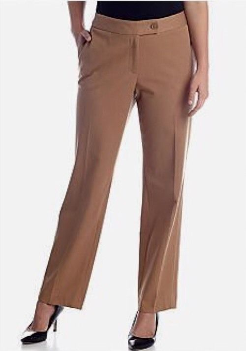 JONES NEW YORK SIGNATURE TROUSER - KHAKI - SIZE 12 #JonesNewYork #CasualPants