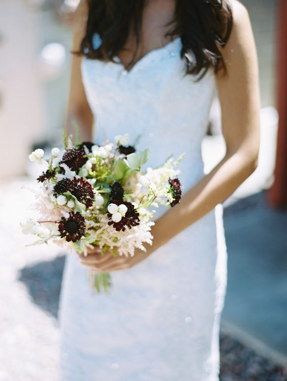Victorian Inspired bouquet with deep purples, whites and greenery via Wedding Sparrow Blog http://weddingsparrow.co.uk/2014/07/08/victorian-era-bridal-inspiration/