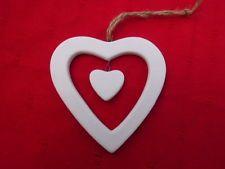 Gisela Graham Christmas White Ceramic Heart in a heart hanging Decoration