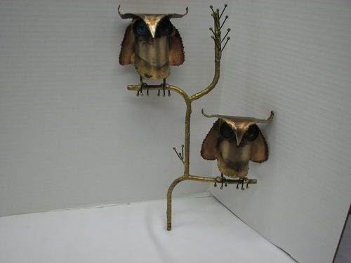 Vintage Mid-Century Art Modern Metal Wall Sculpture Owls/Branch Signed JERE '64