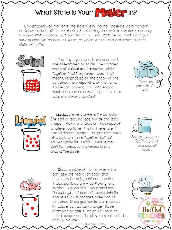 States Of Matter Free Worksheets Science Pinterest