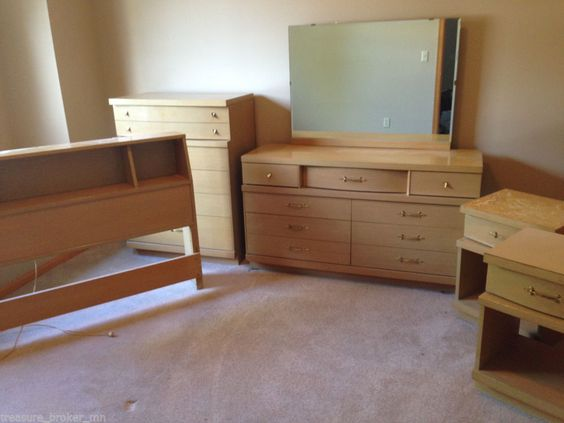 mid century modern blonde oak full bedroom set 6 pcs midcenturymodern