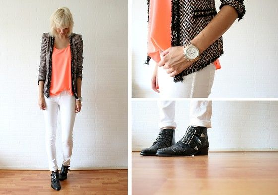 Zara Tweed Jacket, Primark Neon Top, Michael Kors Watch, H White Jeans, Sacha Boots