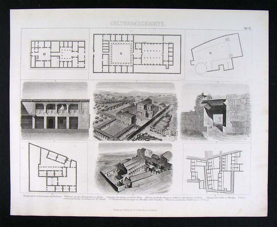 1874 Print Ancient Greek Architecture Plans Farm Estate