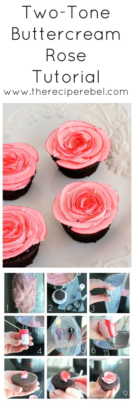Fudgy Chocolate Cupcakes with Two-Tone Rose Tutorial: perfect for Valentine's Day! Or change up the colors for any holiday or birthday you like! www.thereciperebel.com