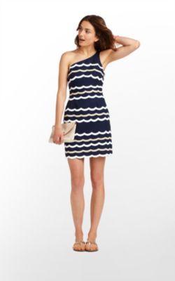 Tylar Dress in True Navy Scallopy Stripey $298 (w/o 6/17/12) #lillypulitzer #fashion #style