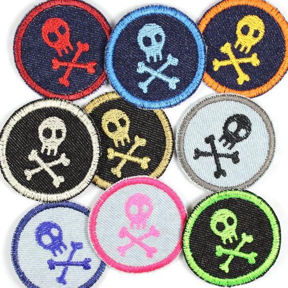 Knieflicken mini ganz bunt! Für alle Piraten und Seeräuber ein cooler Bügelflicken!