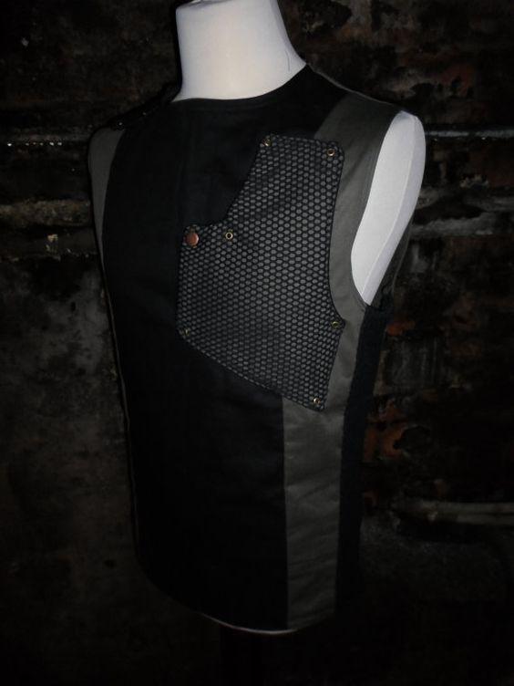 'Green Hellion', man's industrial vest top by independent London designer Maelstrom.