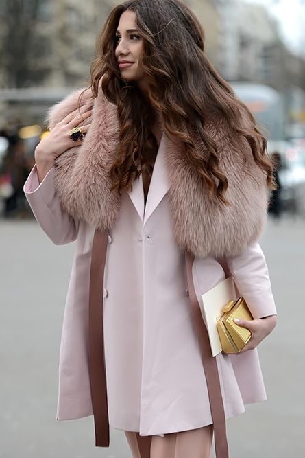 Pastels in street style. La vie en rose at Paris Couture Week 2015.: