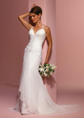 Hot Sale Zipper Up Chiffon Floor Length Casrin Bridal Halter Top Sleeveless Sheath Silhouette Wedding Dress With Spaghetti Straps Style 5193