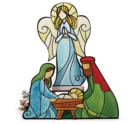 Holy Family With Angel Hair Glass Ornament: Stained Glass, Glasses And Angel On Pinterest