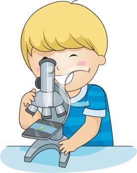 Cartoon of little boy discovering things with a microscope. Clip art