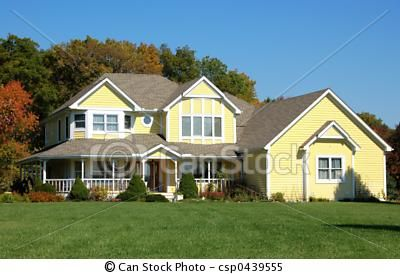 Image detail for -Stock Images of Yellow House - beautiful country home in a wooded ...
