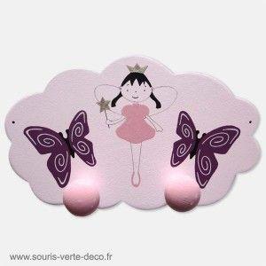 Portemanteau f e et papillons d coration chambre enfant - Porte manteau mural pour chambre bebe ...