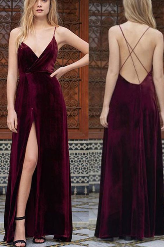 Backless prom dress, ball gown, cute wine velvet long prom dress with slit: