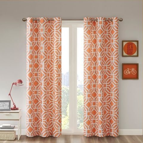 Buy Blue Green Orange Dots Graphic Print Honeycomb Lattice Medallion Ogee Paisley Script Toile Curtains Dr Orange Curtains Panel Curtains Curtains