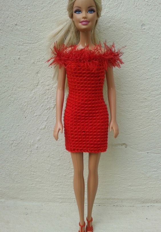 Free Crochet Dress Pattern For Barbie : Lyns Dolls Clothes: Barbie in red - crochet dresses free ...