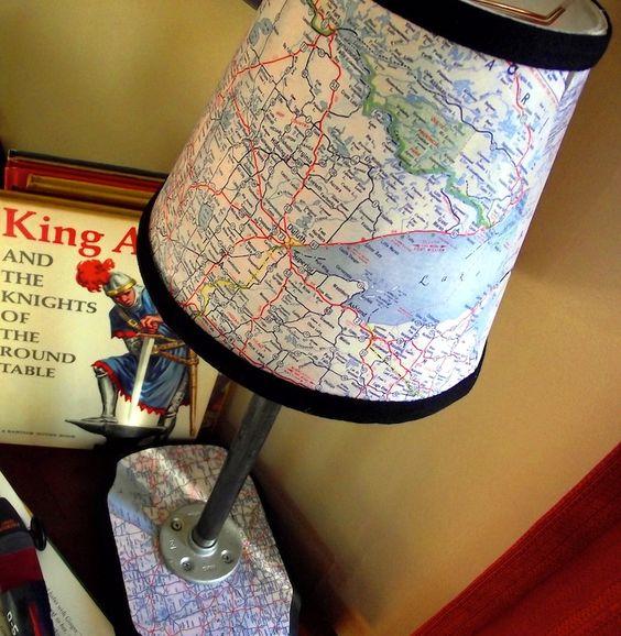 Vintage modern map lamp. ~ Mod Podge Rocks! totally doing it!