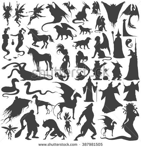 Silhouette collection of mythological people, monsters, creatures: Fairy, elf,…