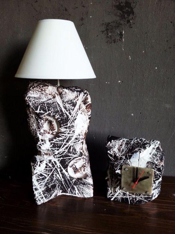 Designerlampe + Uhr Büro Deko Industrial modern rustikal Lampe