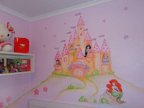 Mural Castillo De Princesas Disney Sobre Gotele Mural Infantil Murales Pintados Murales
