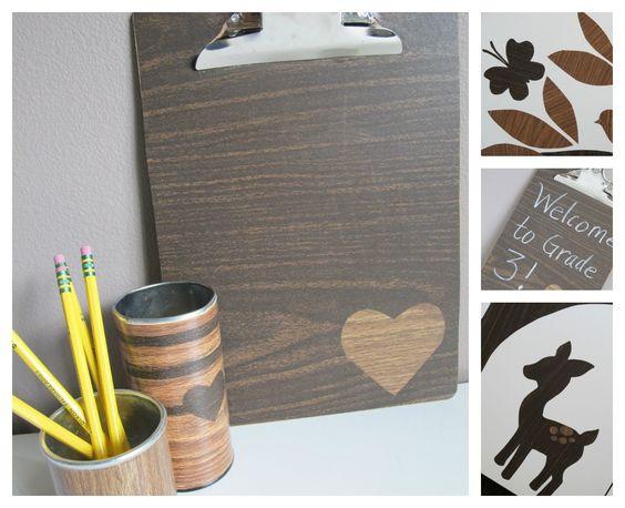 Classroom DIY: DIY Woodsy Decor, Wood contact paper