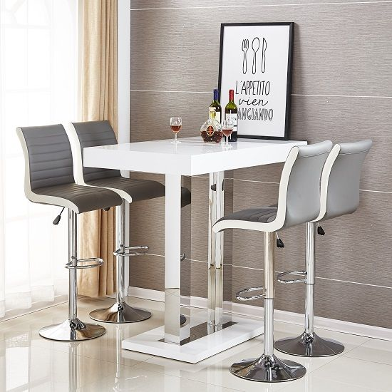 Caprice Bar Table In White High Gloss With 4 Ritz Grey Stools Furniture In Fashion Bar Table Pub Table Sets Grey Bar Stools