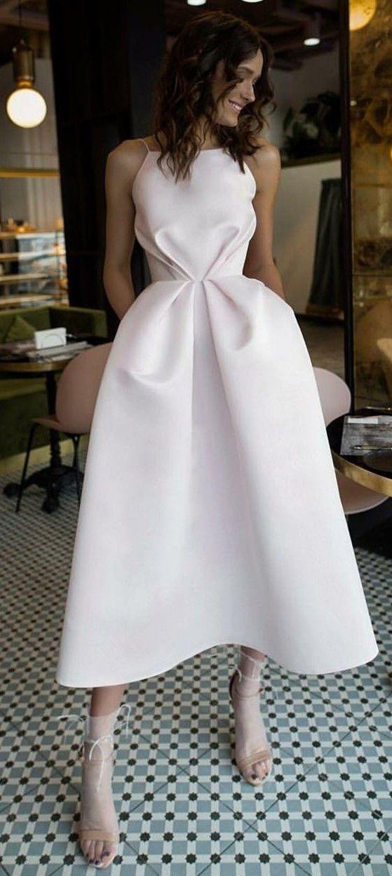 Simple White Tea Length Prom Dresses Cheap A Line Junior Prom Dresses Modest Party Dresses For Te Prom Dresses With Pockets White Prom Dress Beautiful Dresses