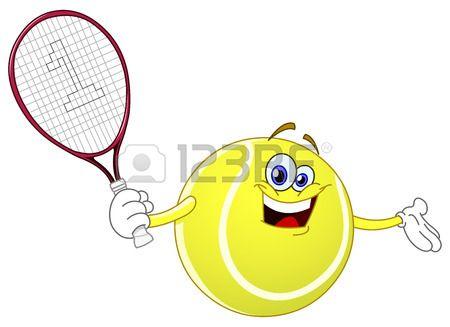 Pelota de tenis de dibujos animados sosteniendo su raqueta