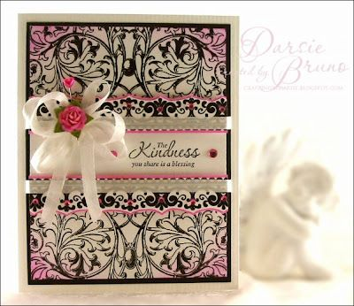 created using JustRite Scrolled Vine Background, Lace Borders Two and Kindness stamp sets by Darsie Bruno