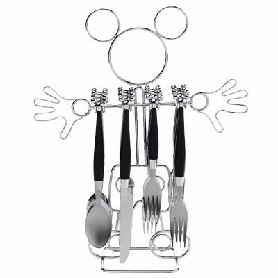 Mickey mouse silverware and holder disney kitchen for Mickey mouse kitchen accessories