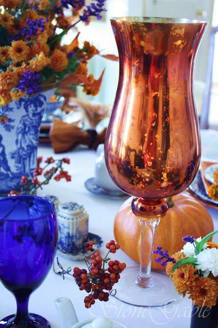 Golden Mercury glass used in fall tablescape.../