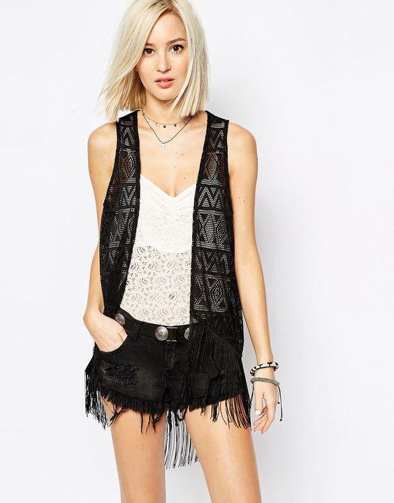 Image 1 of Vero Moda Fringed Crochet Vest