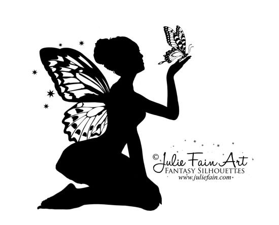 Fairy silhouette images fairy silhouette tattoo draw for Pochoir mural design