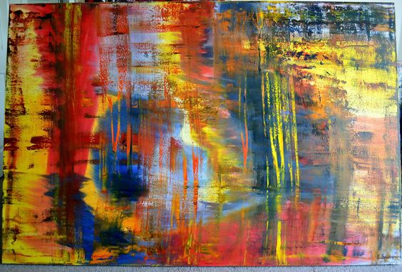 "EVELYN SPATZ OIL ABSTRACT PAINTING 72""x 48"" INSPIRED BY MR. GERHARD RICHTER  #Expressionism"