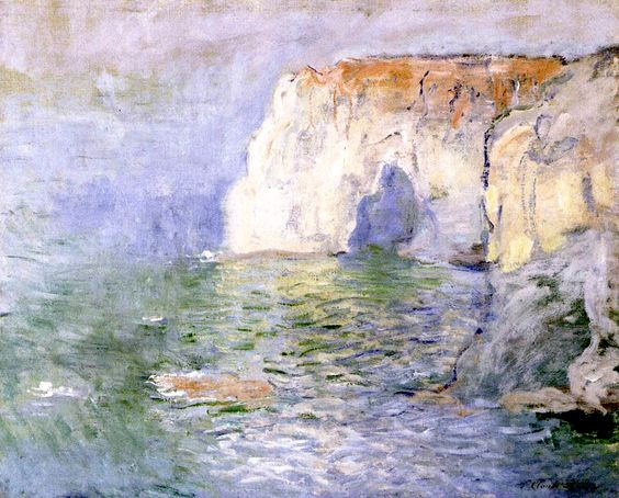 """La Manneporte at Étretat, Reflections on the Sea"" - Monet, 1885:"