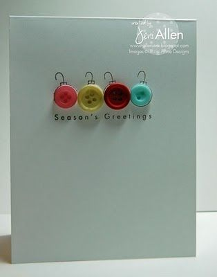 Cute Season's Greetings Card with Buttons! More