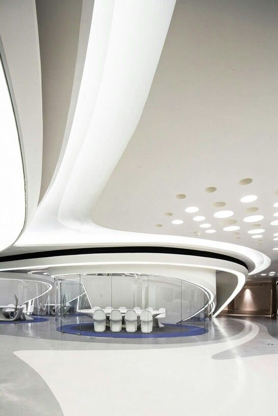 Futuristic interior showroom and interiors on pinterest for Futuristic interior designs